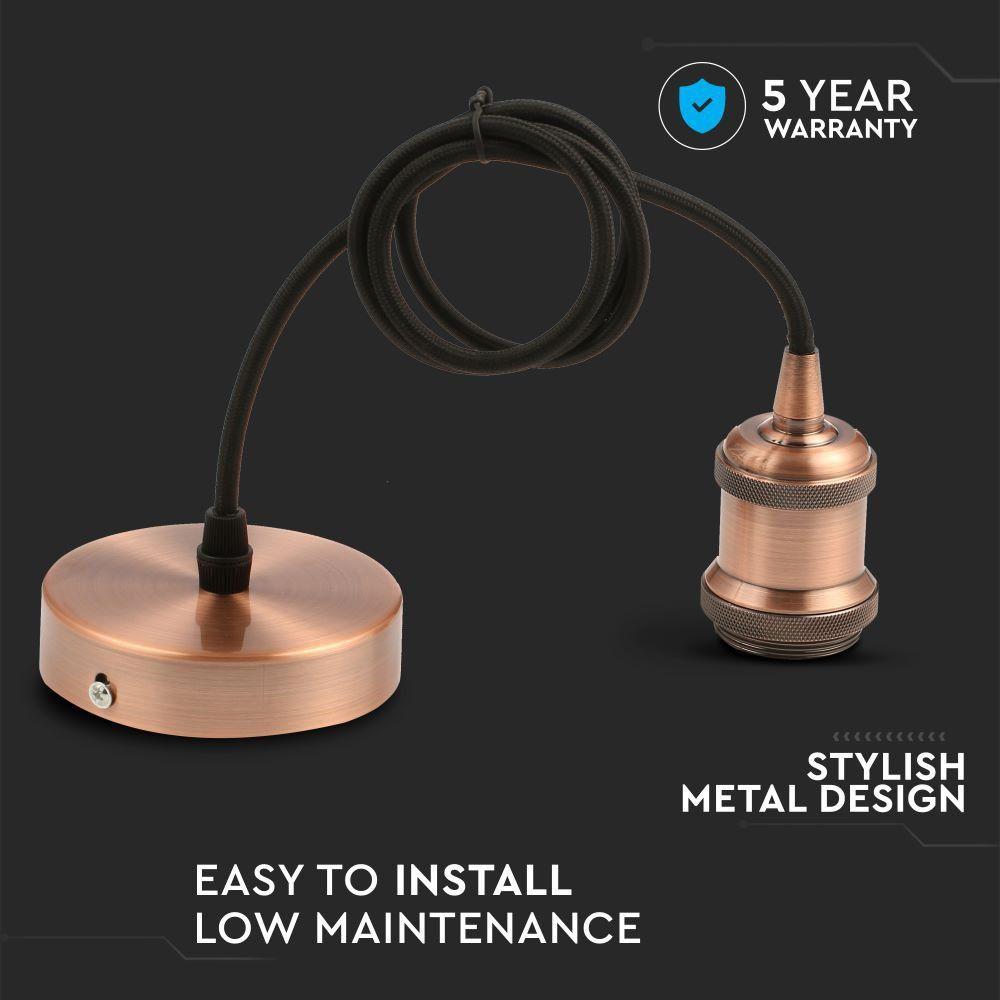 Suport Pandantiv E27 Cablu 1m Culoare Corp Bronz Rosiatic