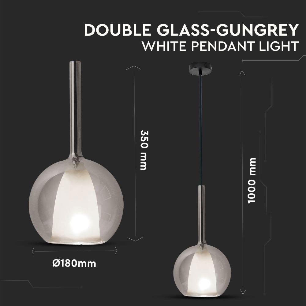 Pendul din Sticla Dubla Gri+Alb, Dimensiune 180mm