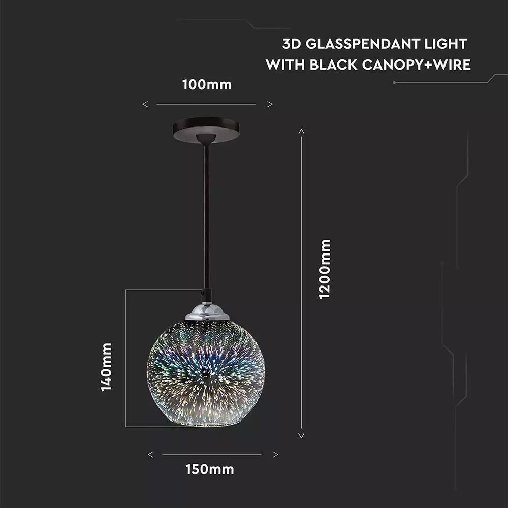 Pendant sticla 3D Light cu geam alb, Dulie E27