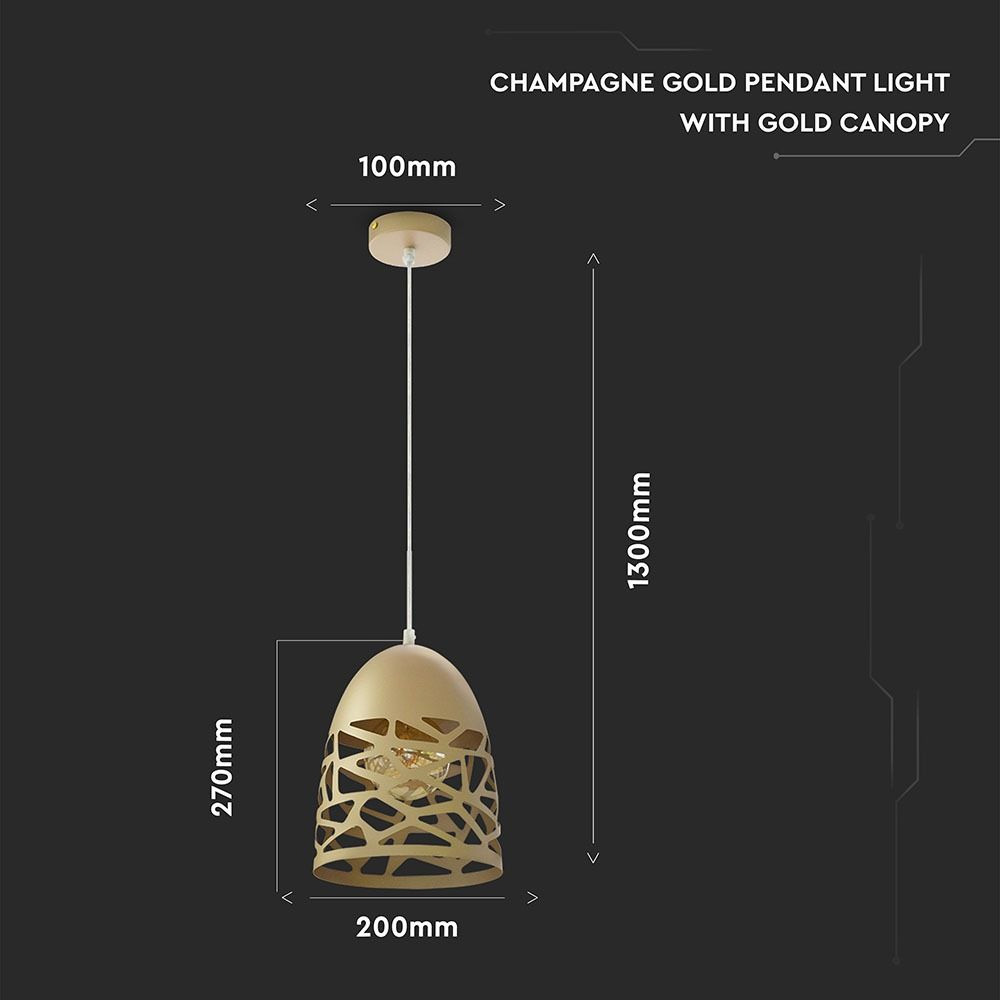 Pendant Light Copertina metalica Gold, Dulie E27