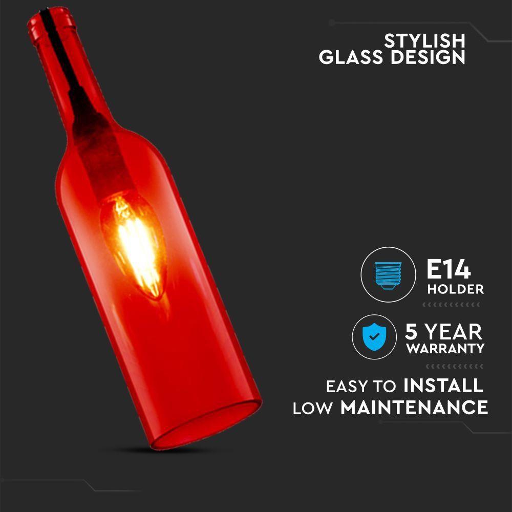 Pendant Bottle Light RED Sticla E14