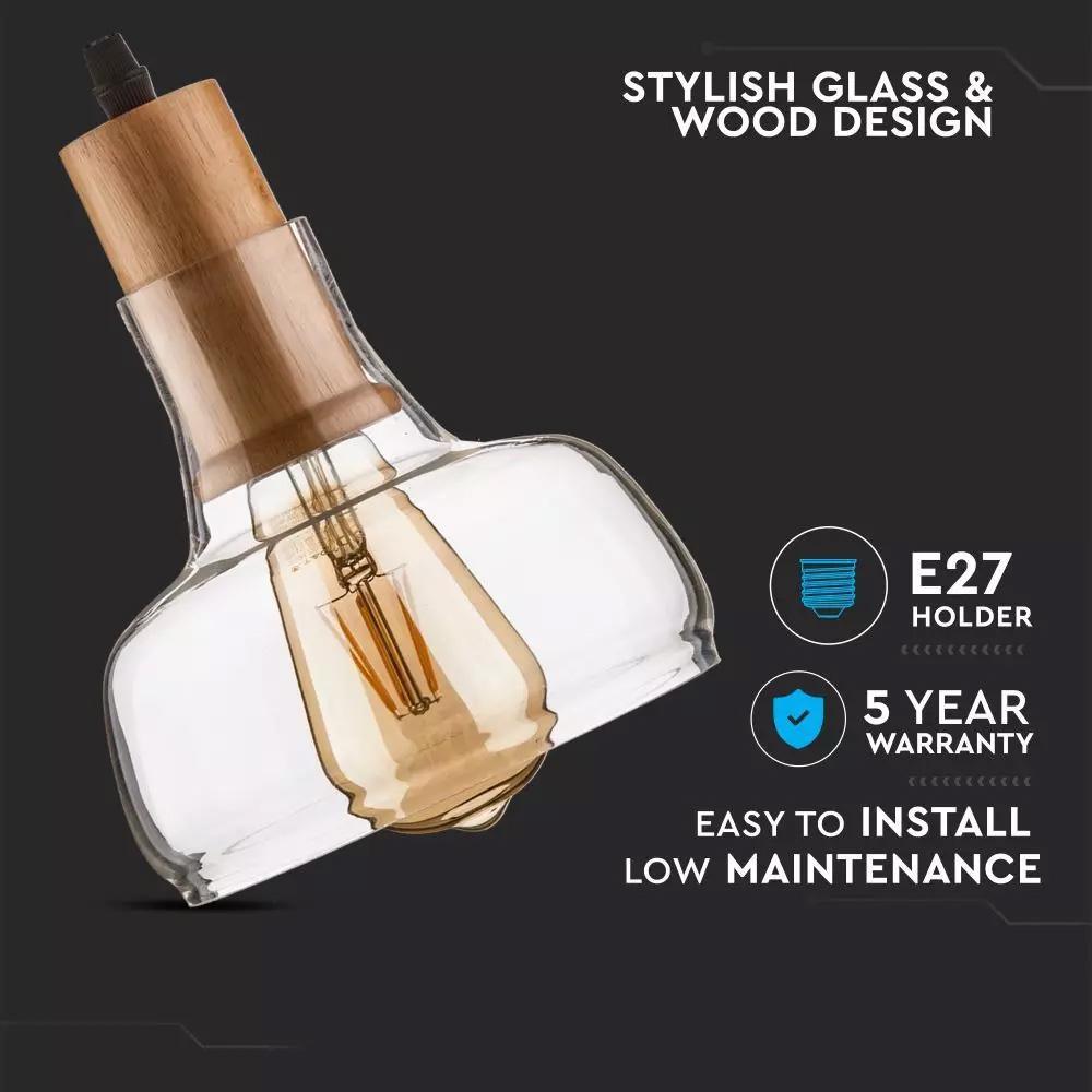 Pendul din Sticla, Amber, Dimensiune 165mm