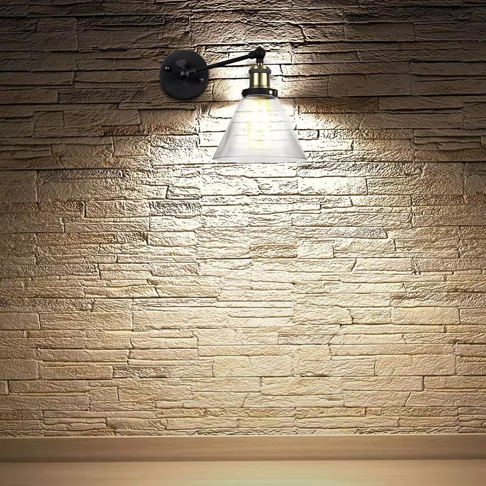 Lampa de Perete Forma V, Sticla Transparenta, 140mm