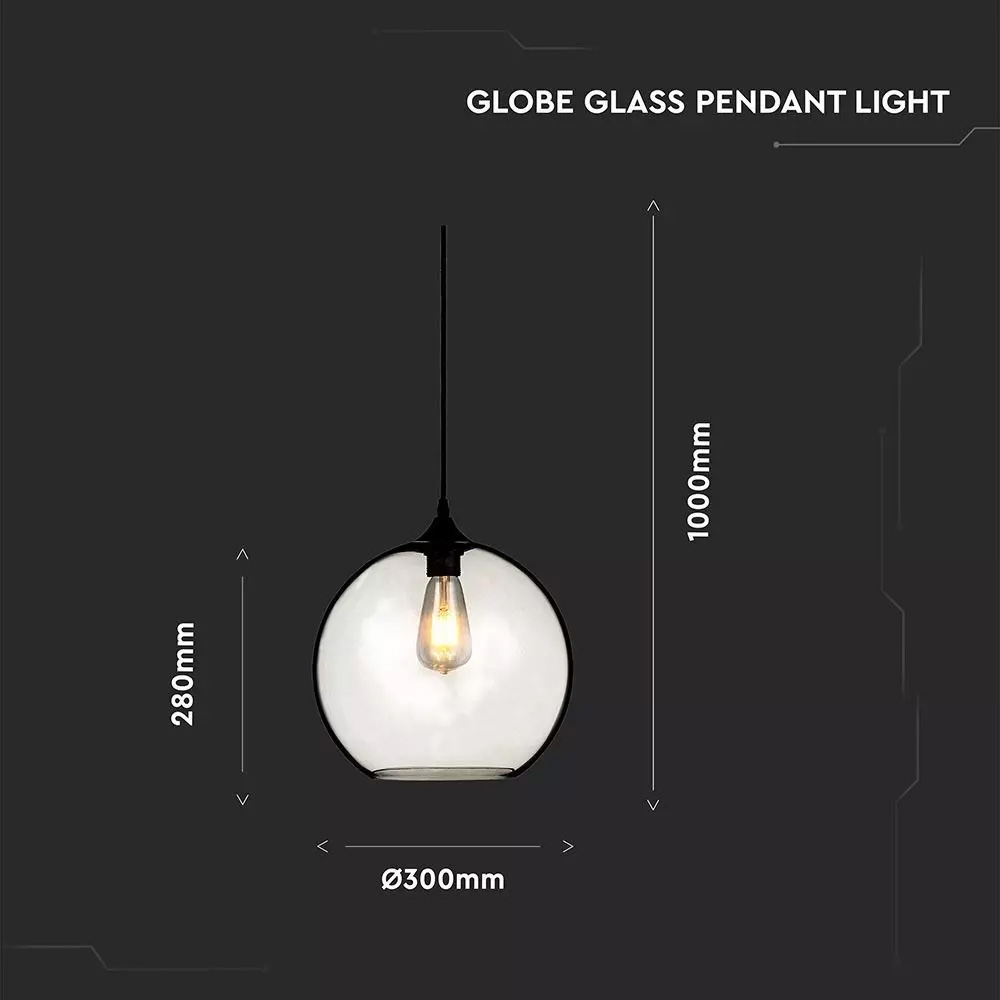Glob Pandativ Sticla Transparent, Dimensiune 300mm