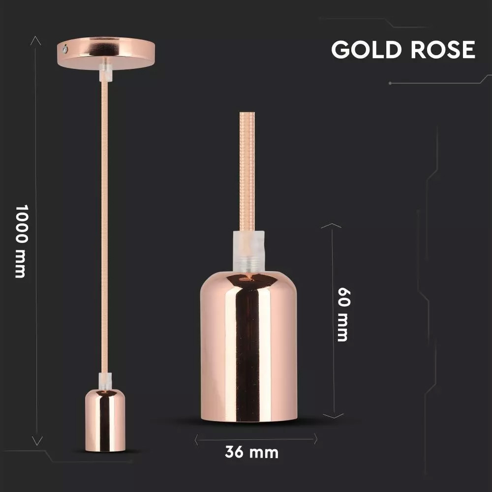 Suport Pandantiv E27 Cablu 1m Culoare Corp Roz-Auriu