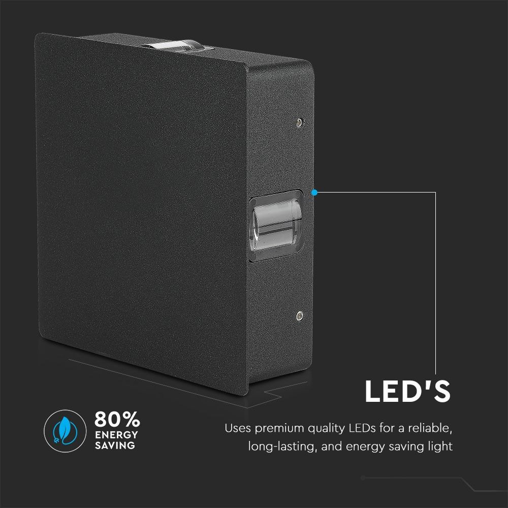 Lampa De Perete 4W LED 4000K Corp Negru Patrat IP65