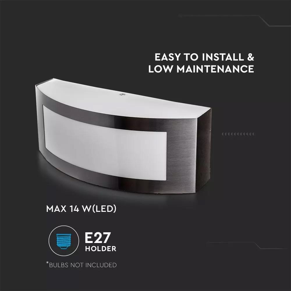 Lampa de Perete Pentru Gradina E27 Cu Otel Inoxidabil IP44
