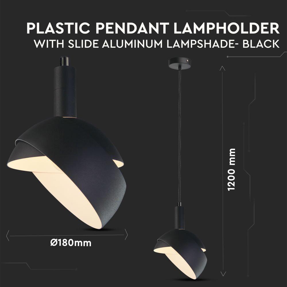 Pendul De Plastic E27 Corp Negru Cu Margine De Aluminiu