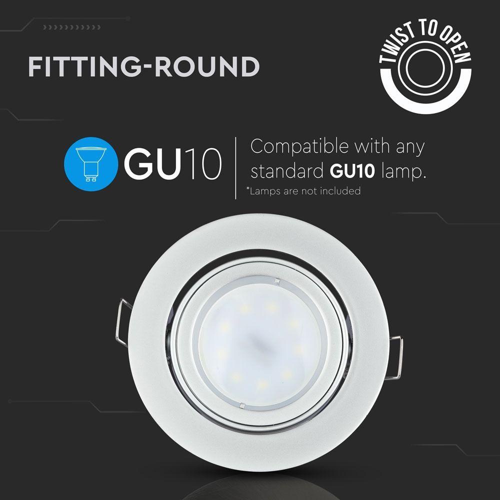 Rama Spot GU10, Rotunda, Orientabila, Coloare Gri (Argintiu)