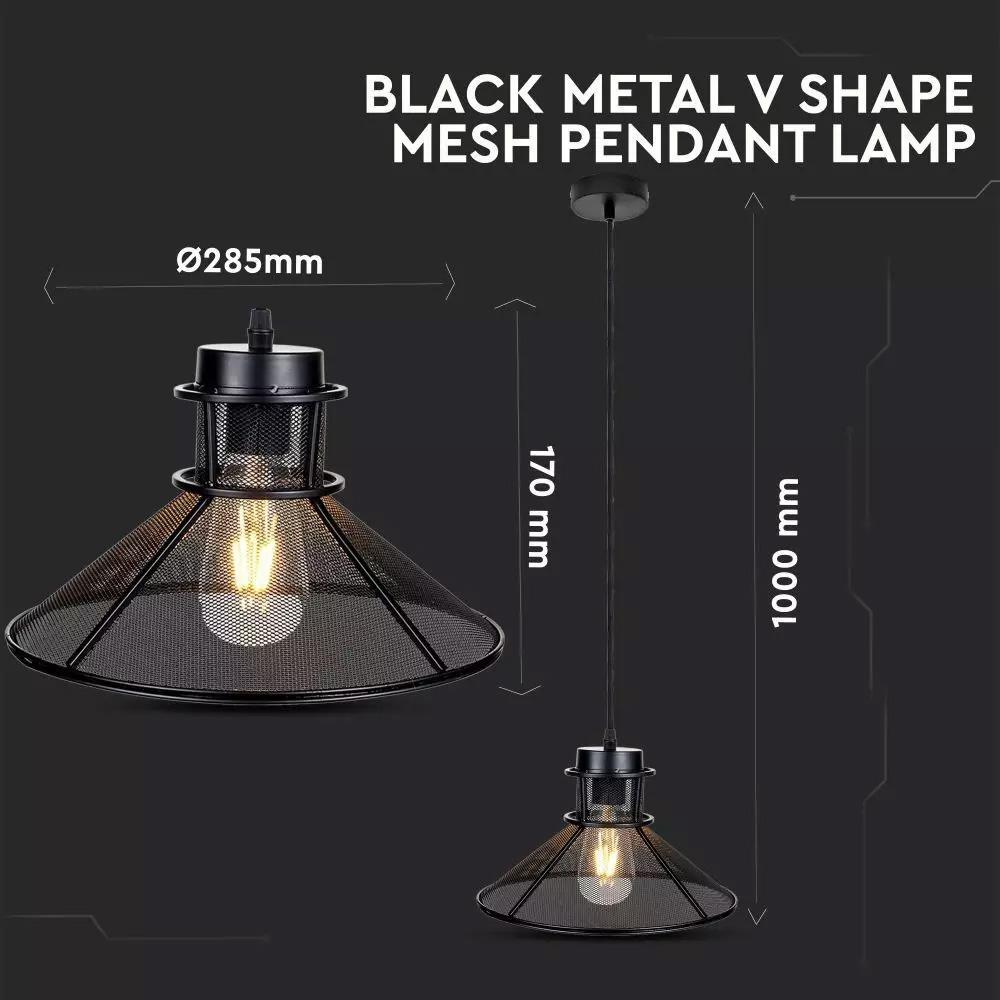 Pendul de Metal Negru in Forma de V