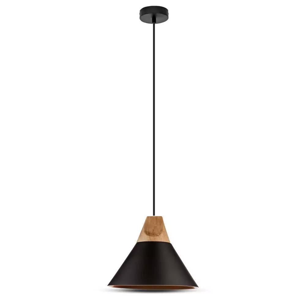 Pendul Negru Modern cu Partea Superioara din Lemn, Diametru 250mm