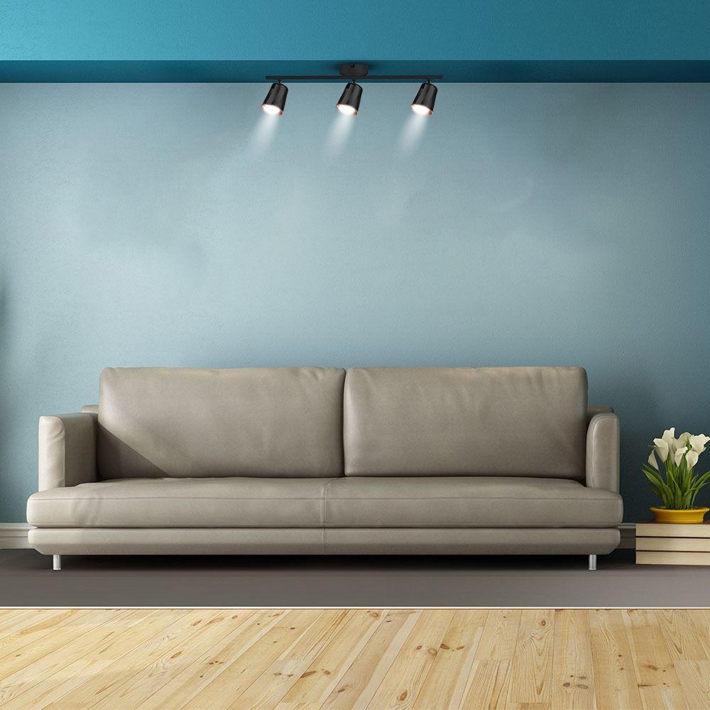 Lampa LED cu 3 Reflectoare 6W fiecare, Lumina Calda, Corp Negru