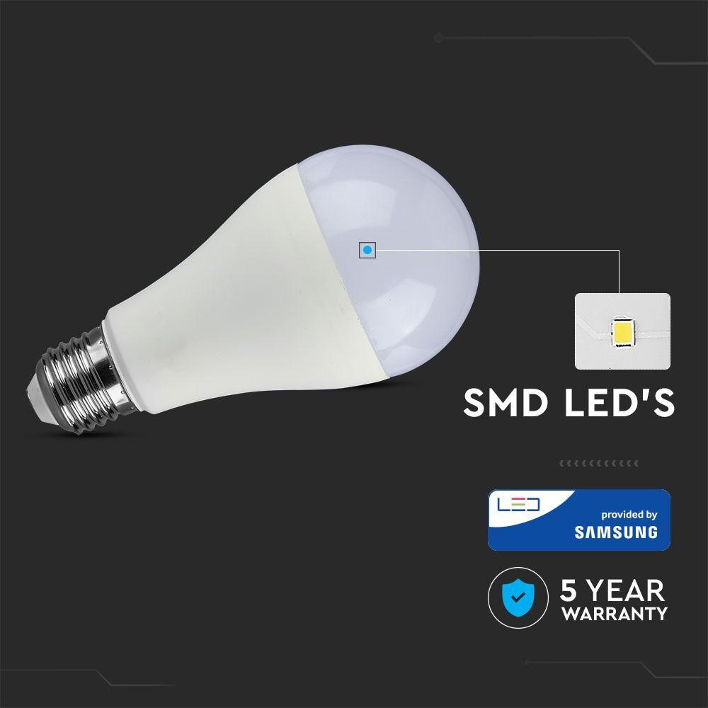 Bec LED 17W, E27, A65, Plastic, Lumina Naturala 4000 - CIP SAMSUNG