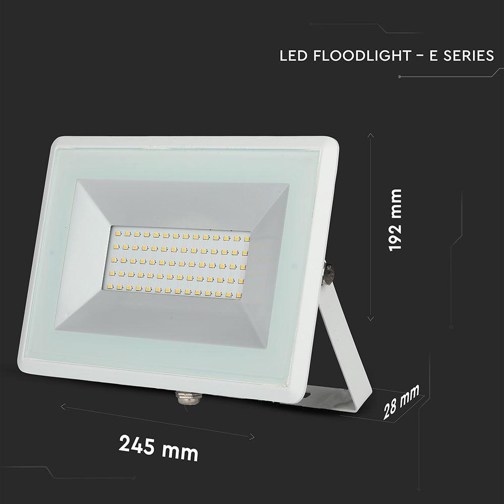 Proiector LED SMD 50W, Seria-E, Lumina Rece, Corp Alb