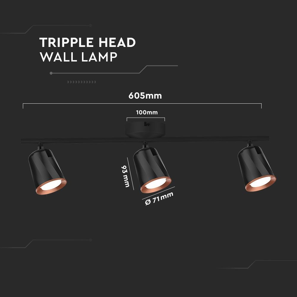 Lampa de Perete cu 3 Reflectoare de 6W Fiecare, Lumina Naturala, Corp Negru