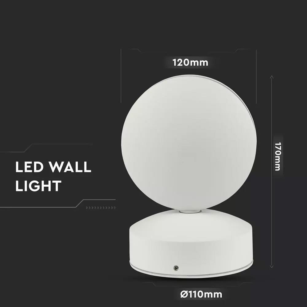 Lampa de Perete LED 7W, Corp Rotund ALB, Lumina Naturala (4000K) IP65