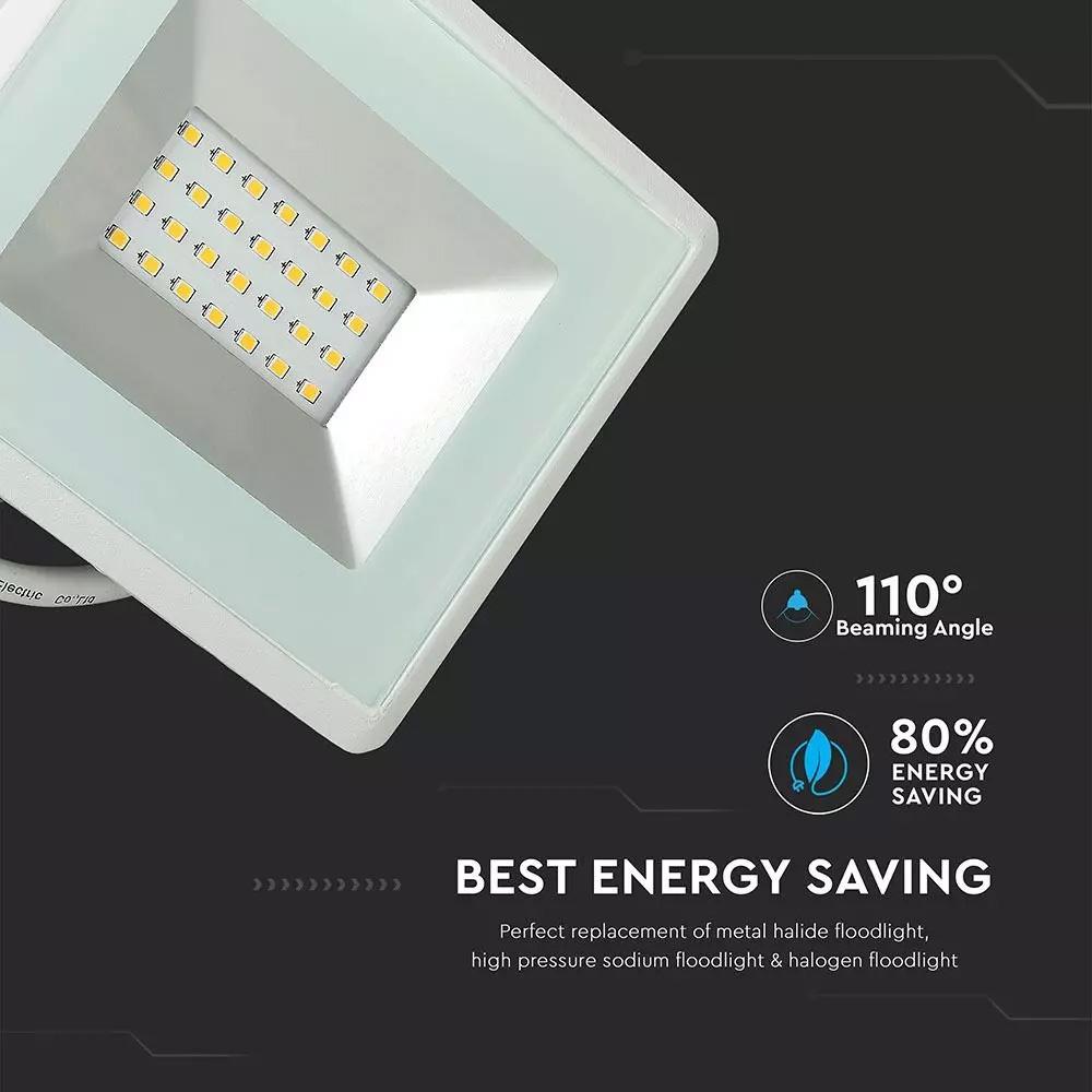 Proiector LED SMD 20W, Seria-E, Corp Alb, Lumina Calda