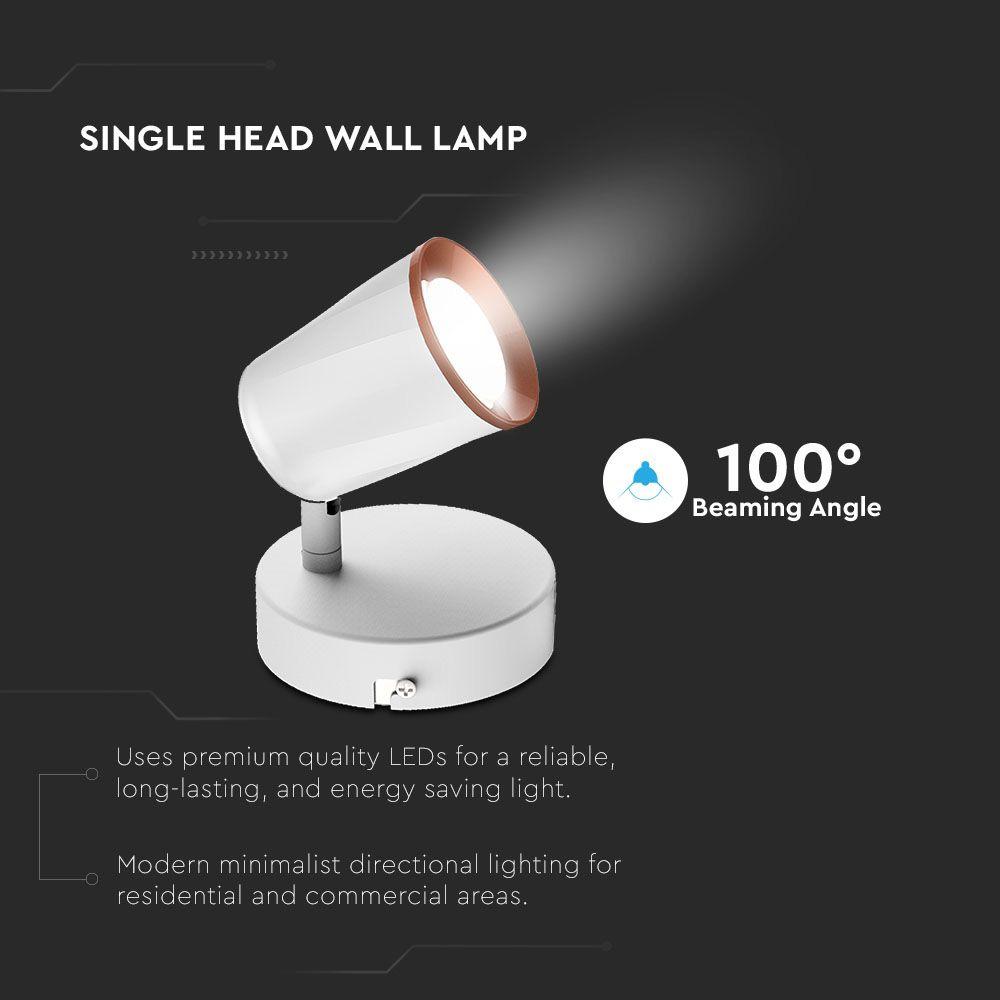 Lampa LED de Perete Orientabila 6W, Lumina Calda, Corp Alb