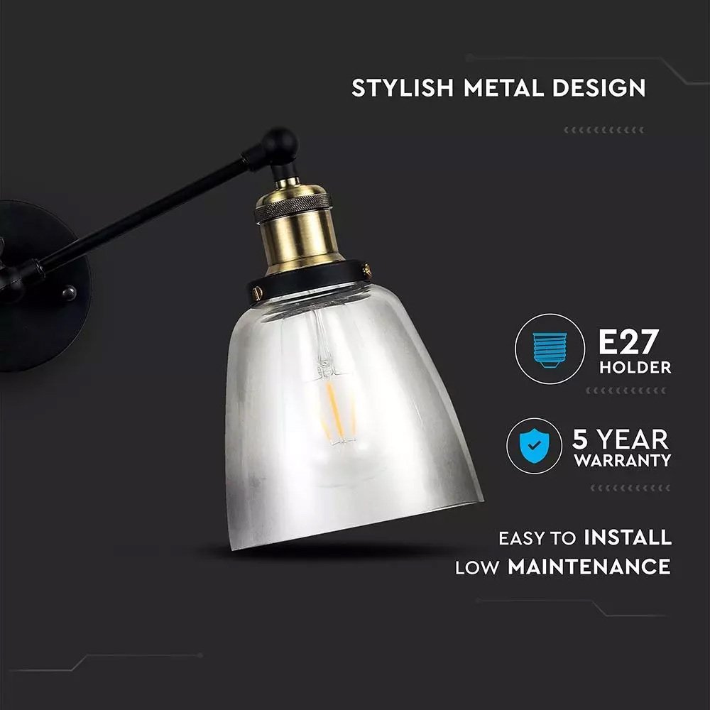 Lampa de Perete In Forma de Con, Sticla Transparenta, Diametru 140mm