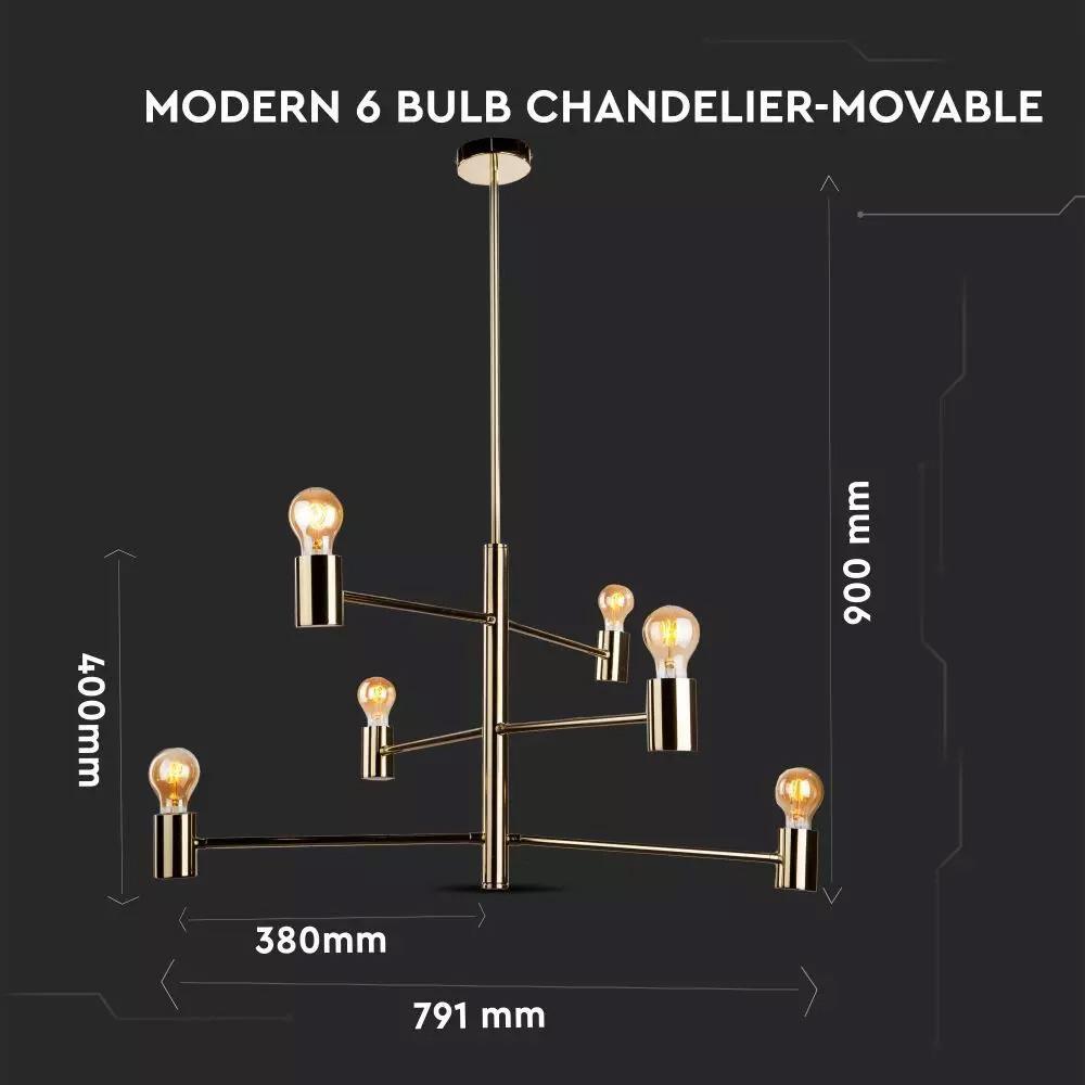 Candelabru Modern pentru 6 Becuri, Corp Auriu, Ajustabil