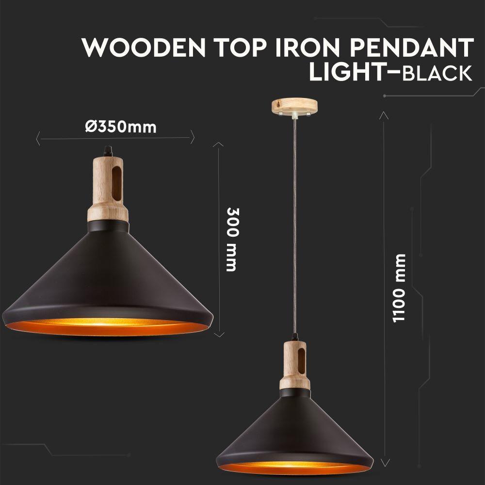 Pendul Modern cu Partea Superioara din Lemn, Corp Negru