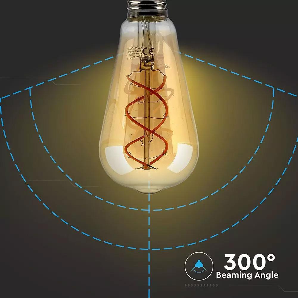 Bec LED 5W, ST64,  Filament, Sticla, 2200K Dimabil