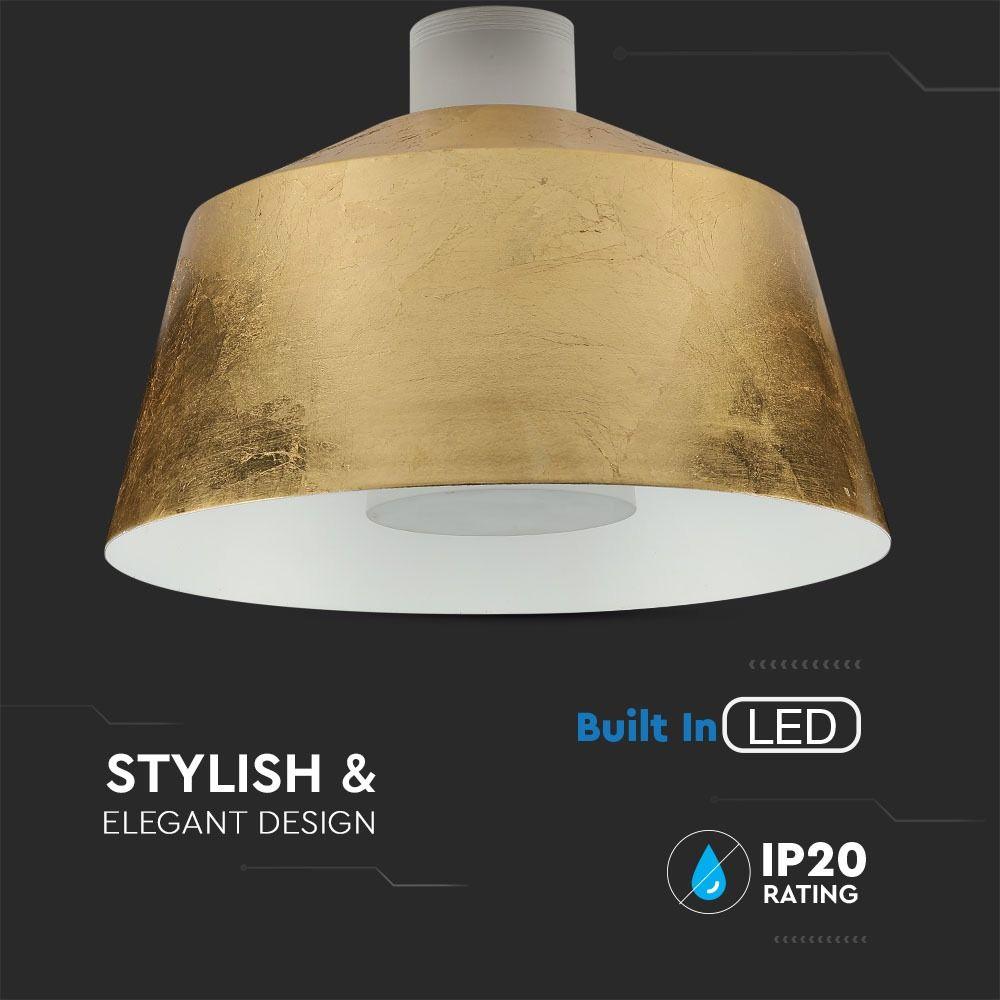 Pendul LED 7W,  Abajur Auriu, Lumina Neutra, Ø250x190mm