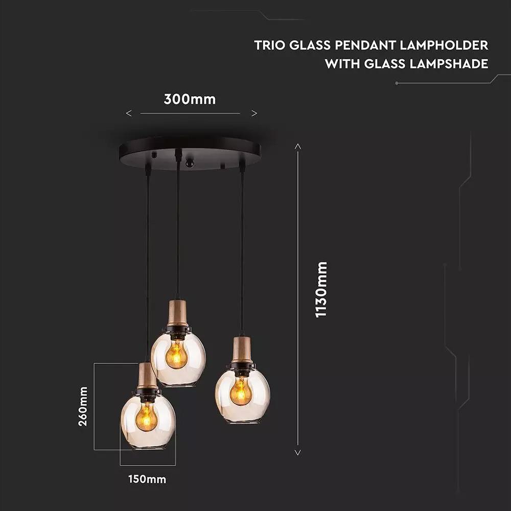 Pendul Trio de Sticla, E27, Suport cu Lampa de Sticla Aspect de Chihlimbar