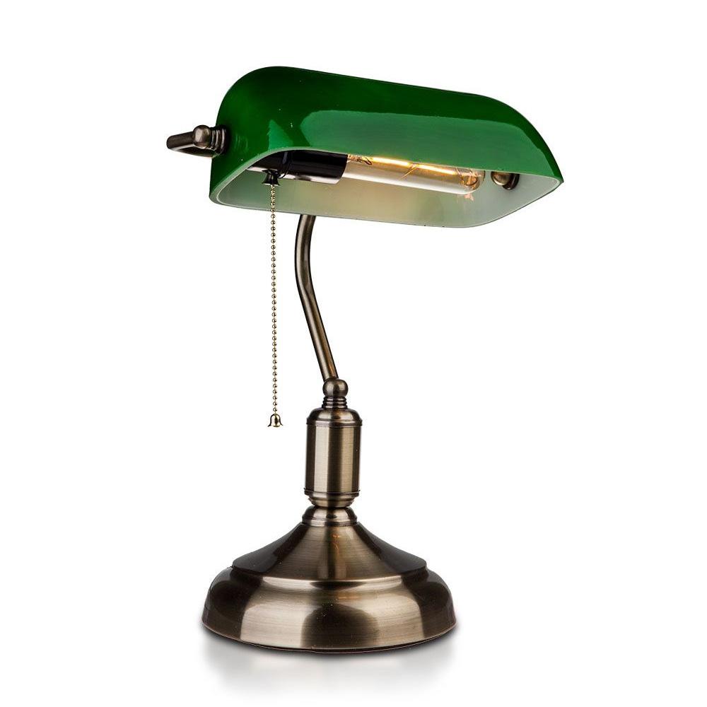 Lampa de Birou Vintage, Corp Verde cu Soclu E27 si Comutator