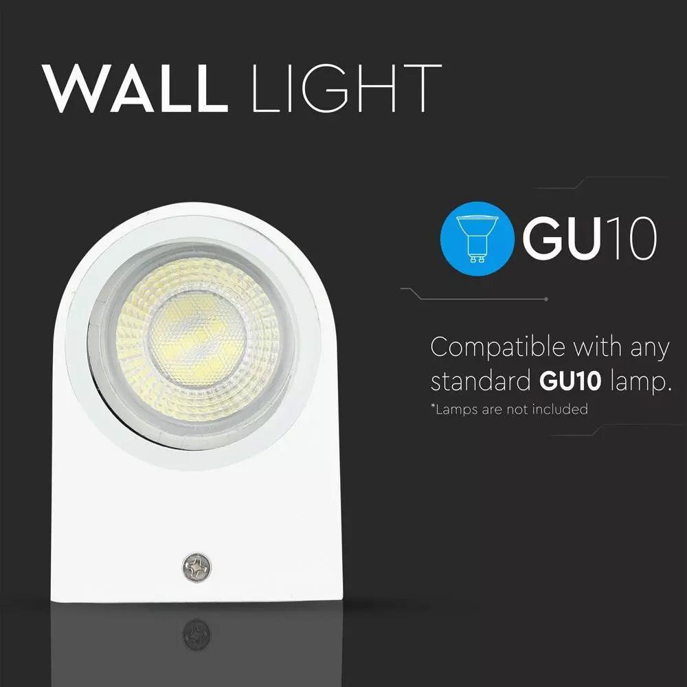 Lampa de Perete Aplicata 2*GU10, Corp Alb cu Iluminare 2 Way, IP44, Rotunda