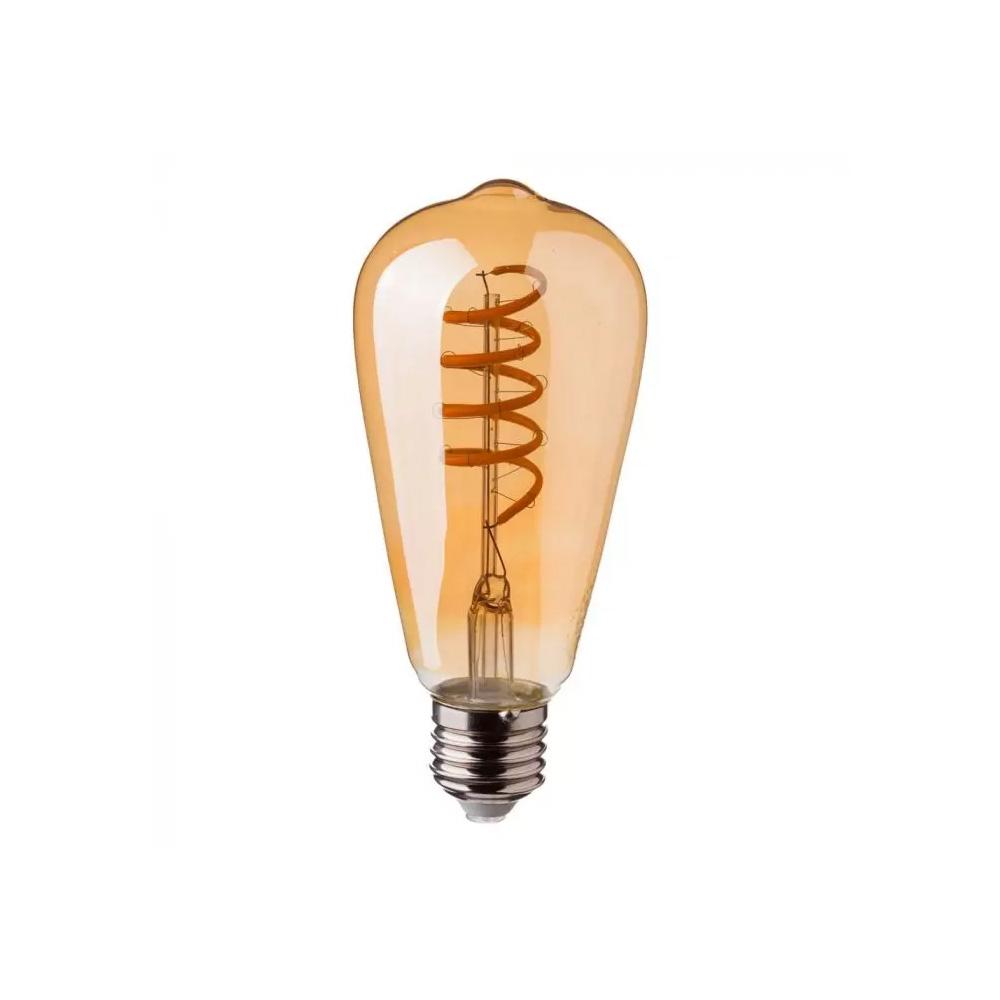 Bec LED 4W, Filament Spirala ST64 din Sticla cu Aspect de Chihlimbar, E27, Lumina Calda 2200K