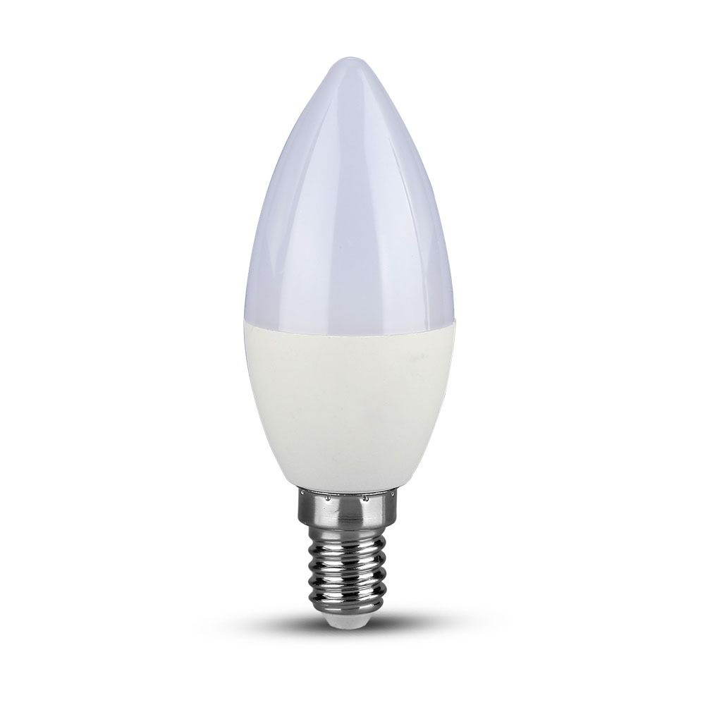 Bec LED 5.5W, E14, Lumanare, Plastic, Lumina Calda 3000K - Chip SAMSUNG