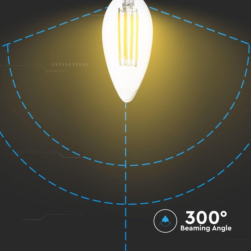 Bec LED 6W Lumanare, Filament, E14, Sticla Clara, Lumina Calda 3000K