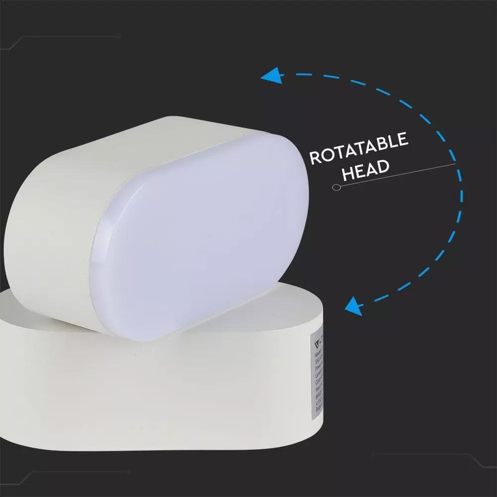 Lampa LED Orientabila 6W, Corp Alb, IP65, Lumina Calda (3000K)