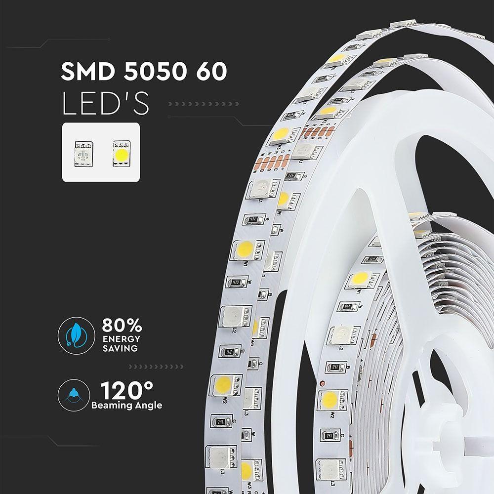 Banda LED 5050, 9W/m 60 LED-uri/m, 12V, IP20, RGB + Alb Natural 4000K