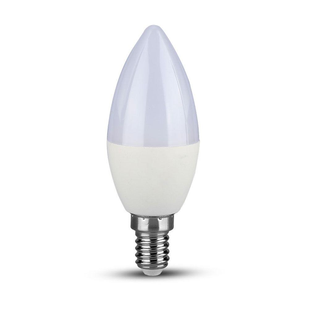 Bec LED 5.5W, E14, Lumanare, Plastic, Lumina Naturala 4000K cu Chip SAMSUNG