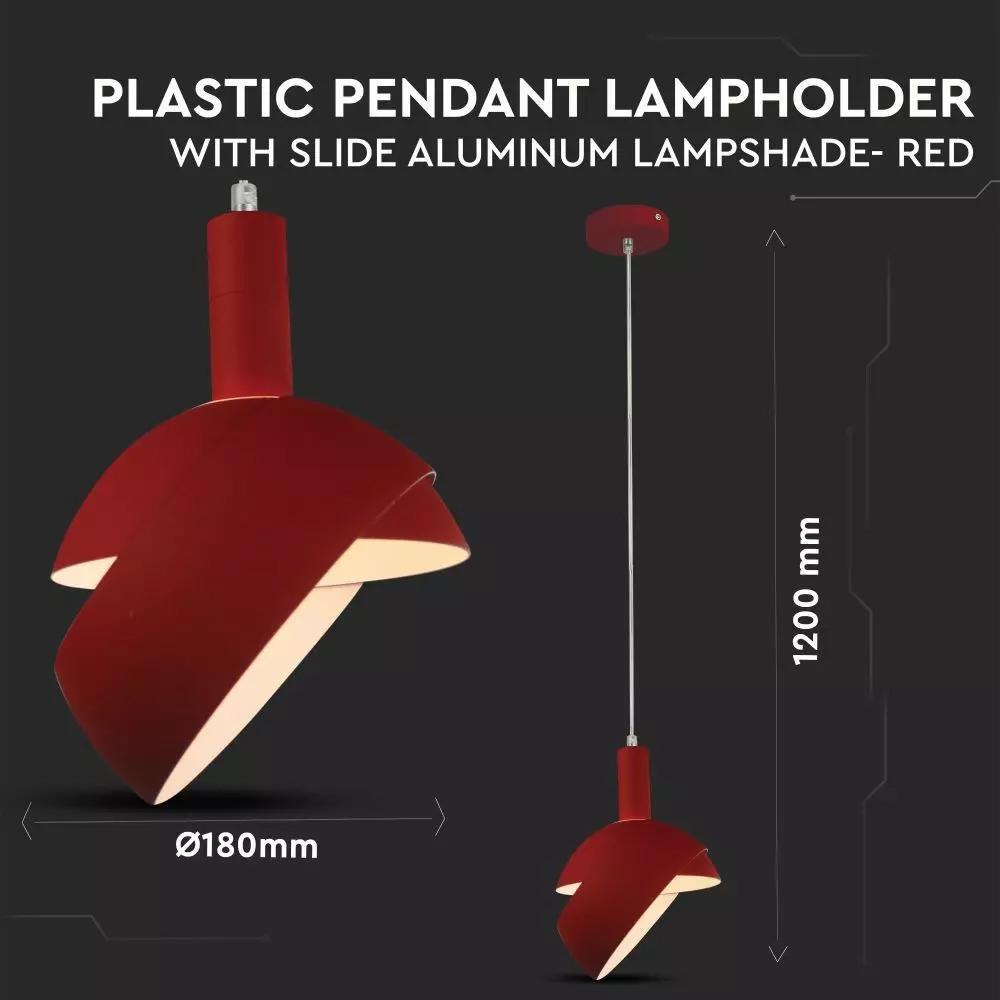 Pendul de Plastic E14 cu Margine de Aluminium Rosu
