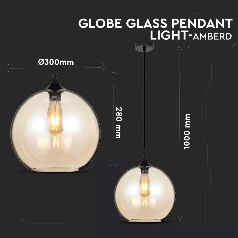 Pendul Glob Sticla Amber, Dimensiune 300mm