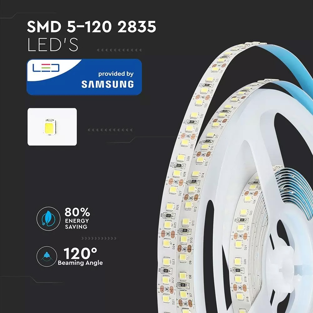 Banda LED 2835, 18 W/m 120 LED/M, 12V, IP20, Lumina Naturala 4000K, CIP SAMSUNG