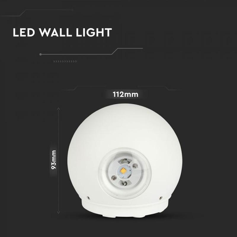 Lampa LED 6W, Rotunda cu Corp Alb, Lumina Calda (3000K) IP65