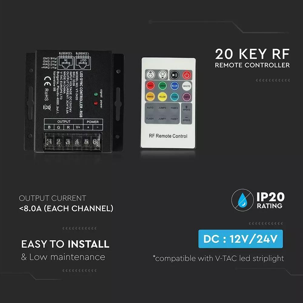 Controler LED RGB cu telecomanda RF, 20 Taste