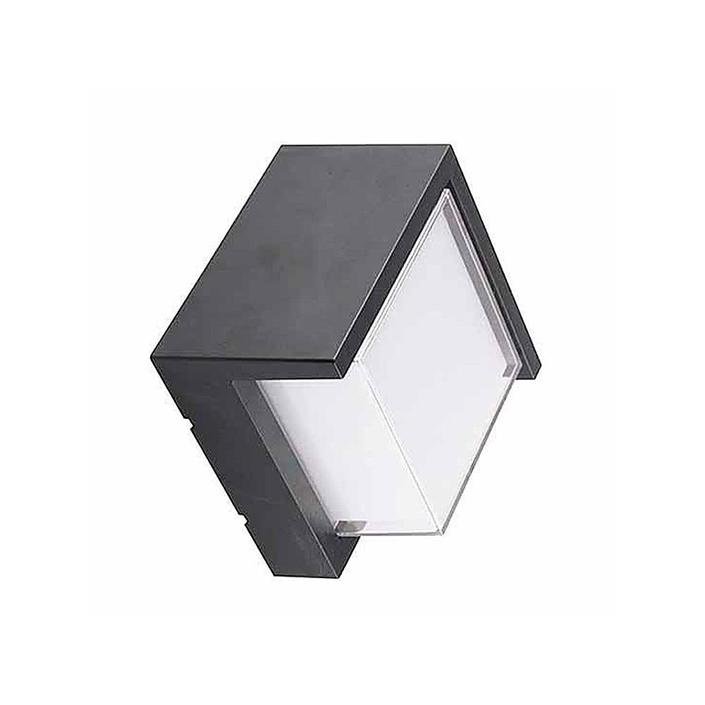 Lampa LED de Perete Patrata 12W, Corp Negru, Lumina Calda (3000K)