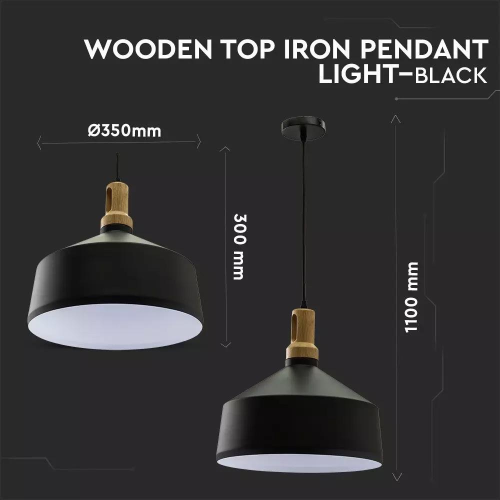Pendul Negru Modern cu Partea Superioara din Lemn, Ф350