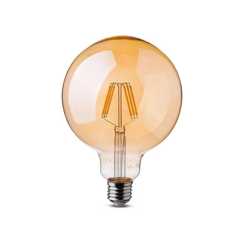 Bec LED Filament 6W, E27, G125, Aspect Chihlimbar, Lumina Calda 2200K