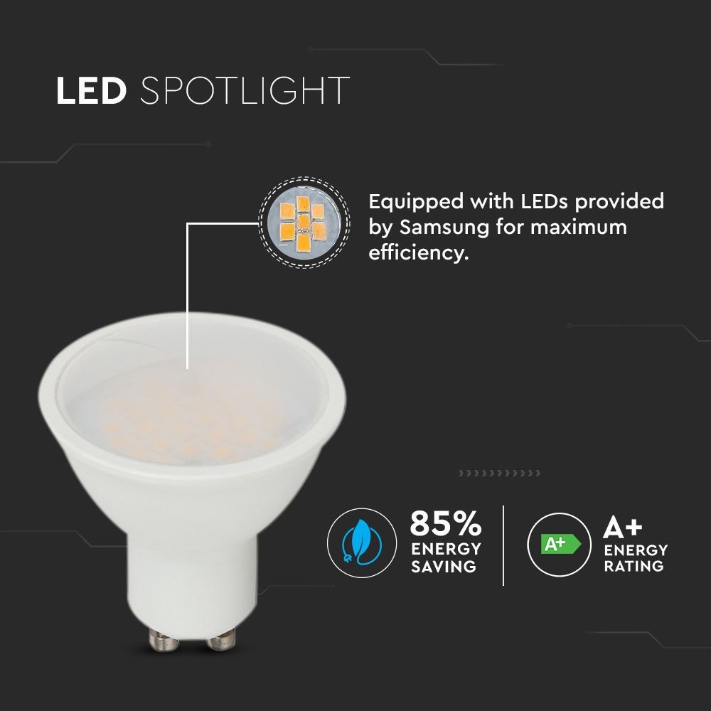 Bec Spot LED GU10, 5W, Plastic, 110`D, Lumina Calda 3000K cu CIP SAMSUNG