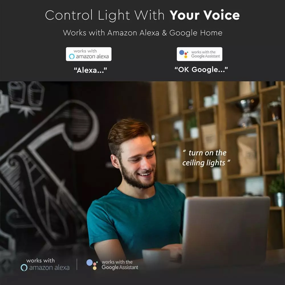 Intrerupator Dublu Wi-fi cu Touch, Negru -Compatibil cu Amazon Alexa si Google Home