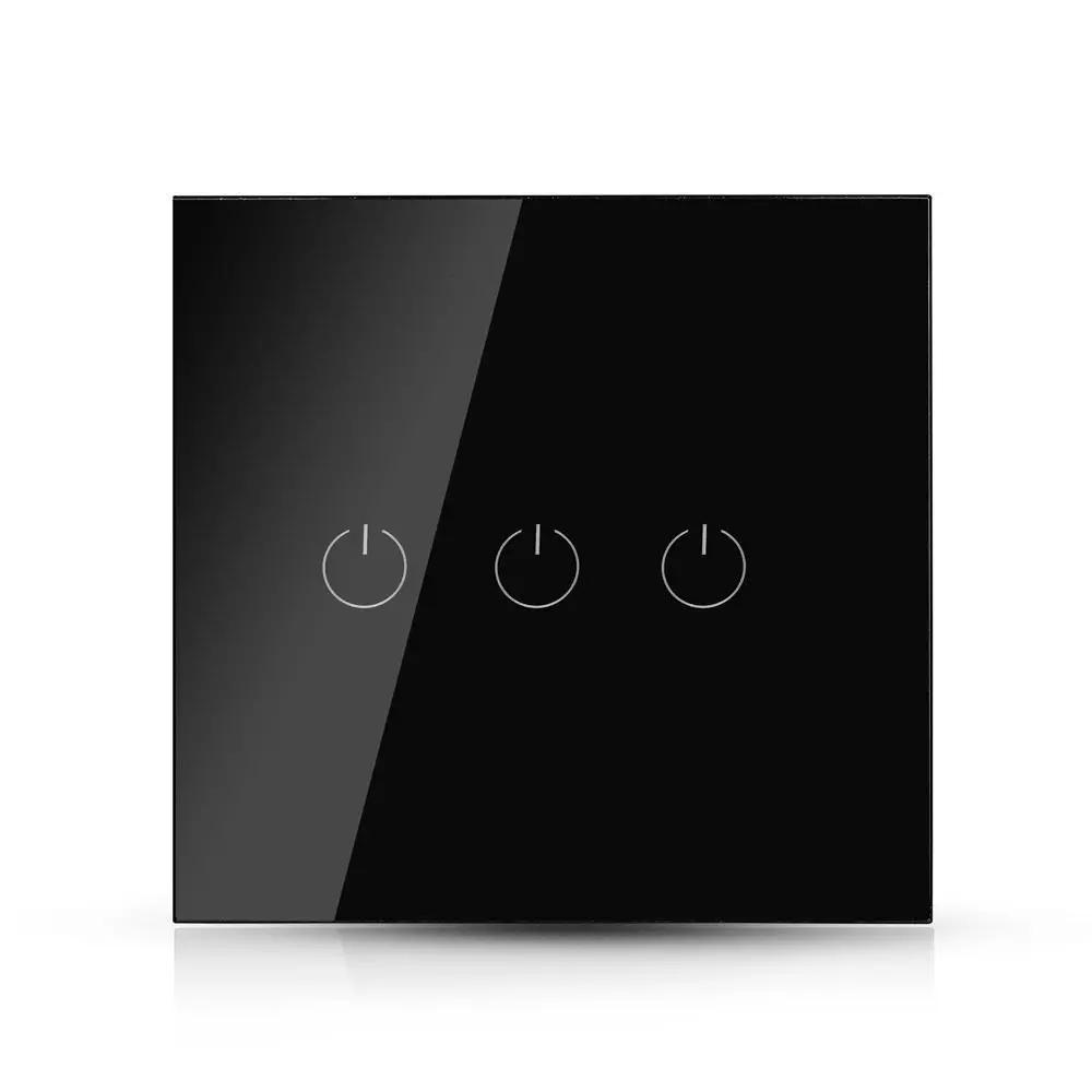 Intrerupator Triplu Wi-fi cu Touch, Negru - Compatibil cu Amazon Alexa si Google Home