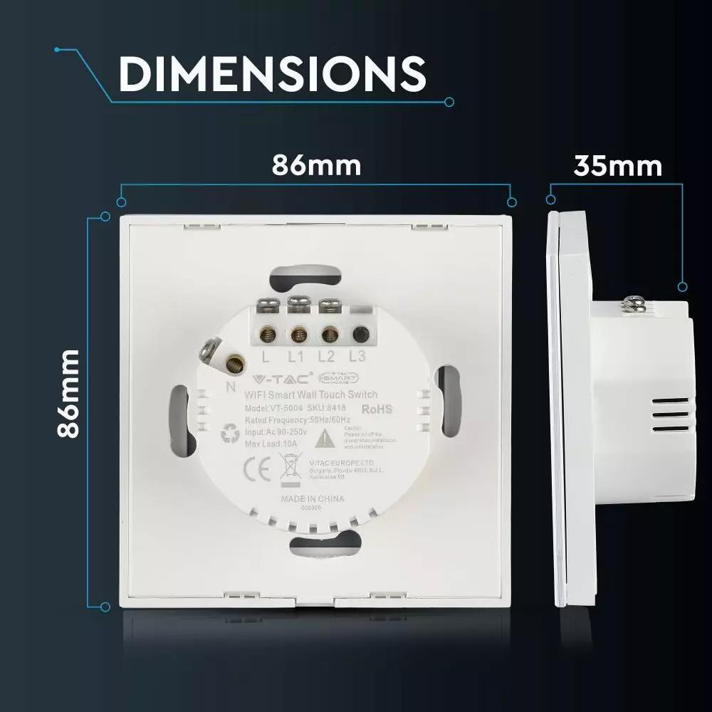 Intrerupator Dublu Wi-fi cu Touch, Alb -Compatibil cu Amazon Alexa si Google Home