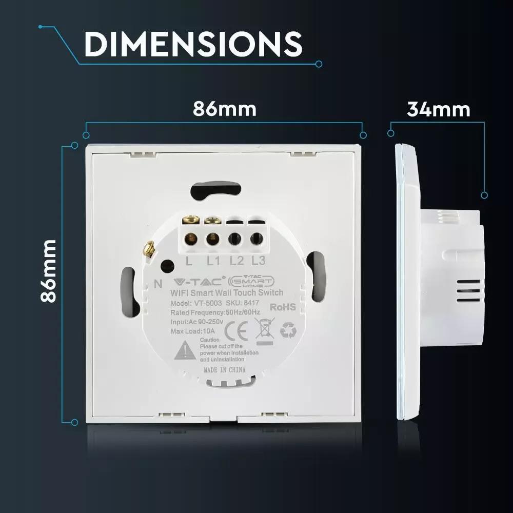 Intrerupator Simplu Wi-fi cu Touch, Alb -Compatibil cu Amazon Alexa si Google Home