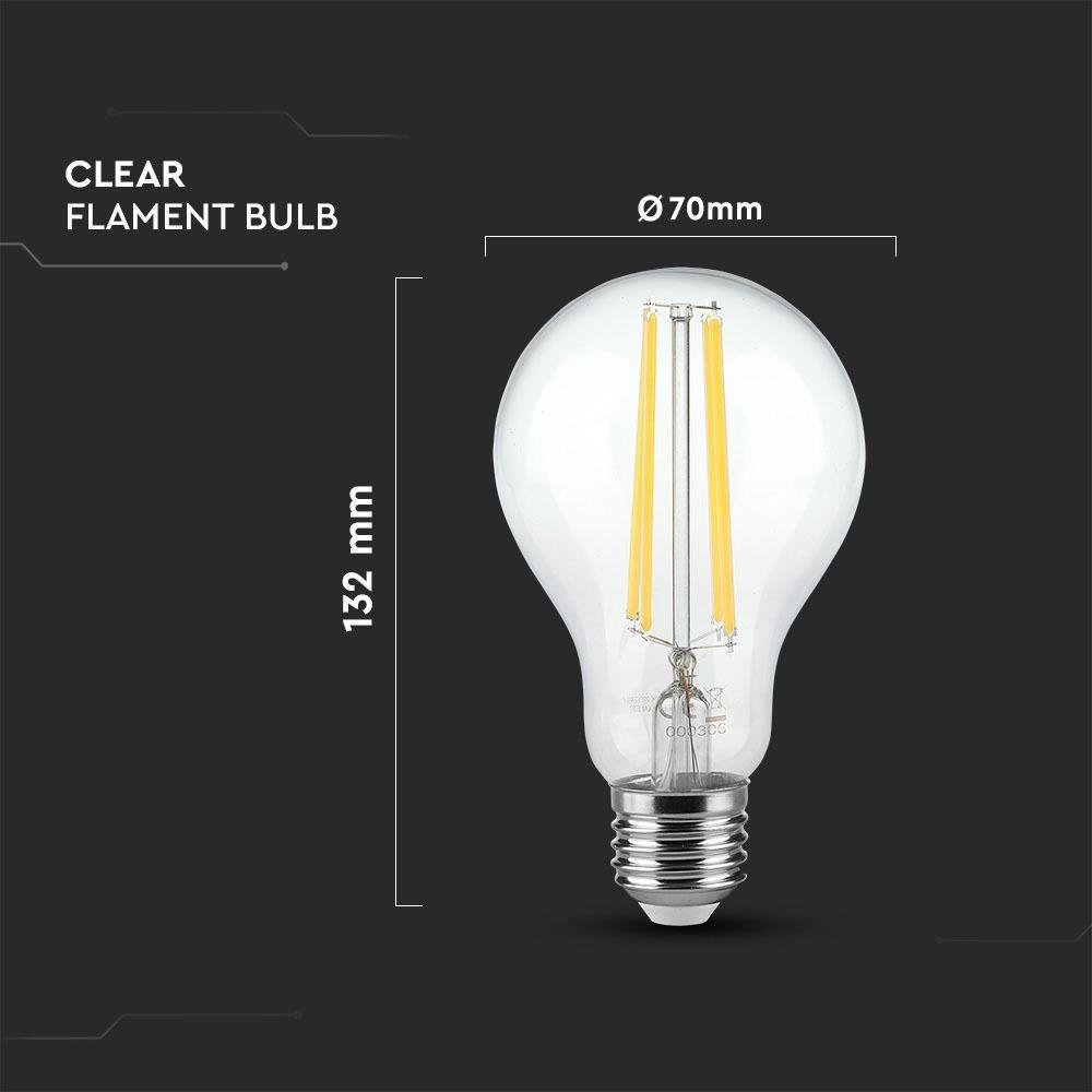 Bec LED Filament 12.5W, E27, A70, Sticla Clara, Lumina Naturala 4000K